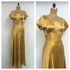 1930s Gold Satin Gown 30s by LostnFoundVintage on Etsy, $285.00