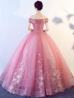 Off-the-Shoulder Short Sleeves Appliques Quinceanera Dress Dama Dresses, Quince Dresses, Pink Prom Dresses, Ball Gown Dresses, Cute Dresses, Evening Dresses, Formal Dresses, Wedding Dresses, Pretty Quinceanera Dresses