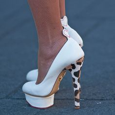Street Style at New York Fashion Week F/W13 White platform pumps with animal print heel