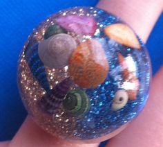 Two Tone Glitter Seashell Ring by TheGiftMonkey on Etsy, $6.00