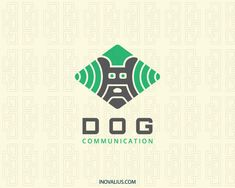 Animal logo in the shape of a dog head in conjunction with wifi icons with green and black colors. (dog, animal, communication, wifi, network, internet, pet doctor, dog services, bulldog, canine, advertisement, effective, audience,  logo for sale, logo design, logo, lototipo, logotype).