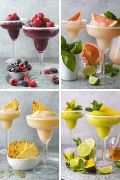 Frozen Daiquiris 4 Ways Cocktail Drinks, Cocktail Recipes, Frozen Daiquiri, Christmas Cocktails, Party Treats, Non Alcoholic, Yummy Drinks, Food Videos, Dessert Recipes