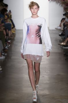 Adam Selman Spring 2017 RTW: Let's see: oversized sweatshirt layered over a skirt (maybe a dress?), laced platform heels, lazy chic topknot for hair, minimal makeup....Adam Selman clearly knows who I am, and he now has my heart!