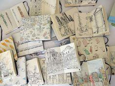 Moleskine for Art Journals. Sketchbook Inspiration, Art Sketchbook, Altered Books, Art Journals, Travel Journals, Rapunzel, Illustration Art, Landscape Illustration, Book Illustrations