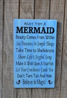 Mermaid - Beach Sign - Beach Decor - Mermaids - Advice From A Mermaid - Beachâ?¦