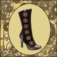 A page full of sensational Steampunk shoes for a futuristic Victorian lady-on-the-go