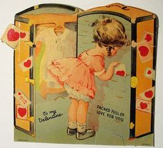 Vintage Girl Packing Valentines Day Card Artwork designed by RetroMagicShop. Made by Zazzle Greeting Cards in San Jose, CA. Valentine Images, Vintage Valentine Cards, Valentine Day Love, Valentines Day Party, Funny Valentine, Vintage Holiday, Valentine Day Cards, Saint Valentine, Valentine Ideas