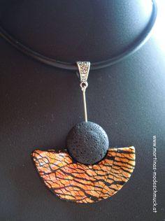 Schmuckset aus Fimo und Metallfolie / Pendant made of Polymer Clay an Metal Foil