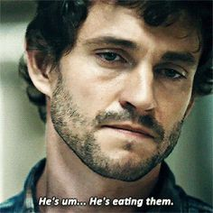 """Hannibal / Will Graham-Hugh Dancy: """"He's eating them."""" And, the slightest little smirk dances across his face after announcing his deduction. Hannibal Tv Series, Nbc Hannibal, Hannibal Lecter, Will Graham Hannibal, Hugh Dancy, Bruce Banner, Melissa Mccarthy, Best Shows Ever, Thriller"""