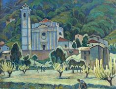 Adrian Allinson 1890-1959: Landscape with a Church and a Village, 1924
