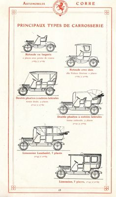 "Main types of auto body from the catalog of ""Automobiles Corre"", La Licorne, 1908, Neuilly-sur-Seine, France #Booktower"