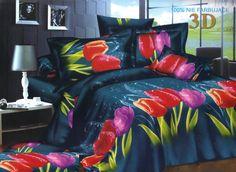 Kolorowe tulipany pościel z mikrwłókna w kolorze granatowym
