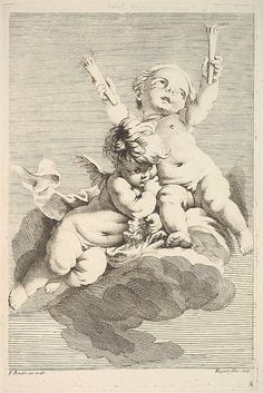 Two Cupids, One Holding Torches Jacques Gabriel Huquier (French, Paris 1730–1805 Shrewsbury)