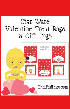 Have Star Wars-themed Valentine fun with these Printable Star Wars Valentine Treat Bags and Gift Tags! Treat bag toppers and tags feature your favorite characters including Princess Leia and her special guy Han Solo, as well as Darth Vader Yoda and more!
