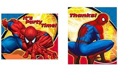 Spiderman Spidersense Set of 8 Invitations and Thank Yous -- Learn more by visiting the image link. (This is an affiliate link) Spiderman Spider, Kids Party Supplies, Thank You Notes, Party Time, Stationery, Thankful, Birthday Parties, Invitations, Cards