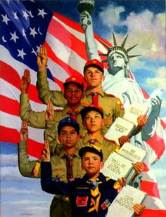 Boy Scouts by Norman Rockwell, 1966 Scout Leader, Boy Scout Troop, Cub Scouts, Scout Mom, Tiger Scouts, Norman Rockwell Art, Norman Rockwell Paintings, Eagle Scout, Illustration