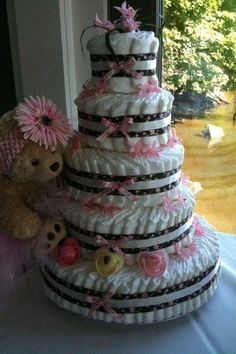 Girls 5 tier diaper cake by CrittaCrafts on Etsy, $175.00