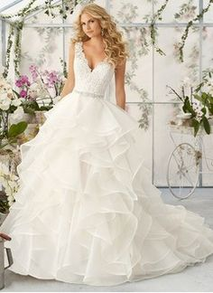 Ball-Gown V-neck Court Train Organza Wedding Dress With Lace Beading Cascading Ruffles