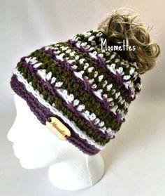 Handmade Messy Bun Beanie Purple Green Wood Button Runner Ponytail Hat