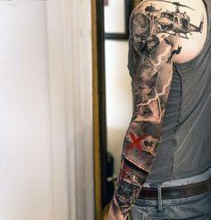 Military Half Sleeve Tattoos For Black Men