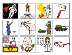 Povolání - co k sobě patří – (Mujblog.info v3.1) Picture Boards, Community Helpers, Teaching, Comics, Words, Blog, Pictures, Speech Language Therapy, School Supplies