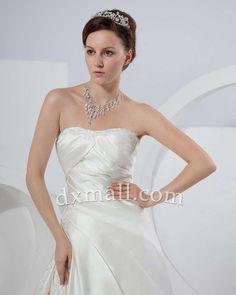 A-line Wedding Dresses Strapless Chapel Train Taffeta Satin Ivory 010010100365