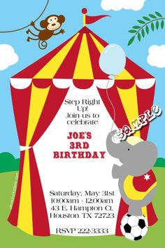 Circus Tent Birthday Invitations   Get these invitations RIGHT NOW. Design yourself online, download and print IMMEDIATELY! Or choose my printing services.   No software download is required. Free to try!