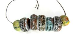 Textured Ceramic Art Beads - Artisan Round Clay Beads No. 102 - pinned by pin4etsy.com