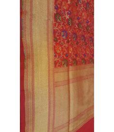 Rust and Gold handloom Banarasi Pure Silk Saree