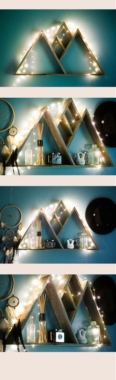 Reclaimed Pallet Wood Mountain Range Triangle Shelf by Fernweh Supply Company Decoration Palette, Decoration Bedroom, Diy Home Decor, Decor Room, Woodworking Projects Diy, Pallet Projects, Woodworking Plans, Diy Projects, Pallet Ideas