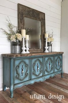 Beautiful way to redo all that ugly oak furniture: Blue paintedFrench provincial tv console blue painted