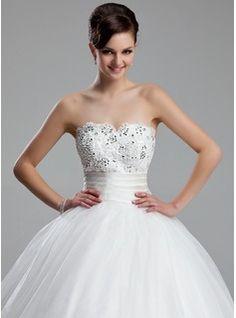 Ball-Gown Sweetheart Court Train Organza Satin Wedding Dress With Ruffle Lace Beading (002011973) - JJsHouse