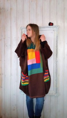 L Plus Size Upcycled Wool Poncho Sweater Boho hooded Quirky
