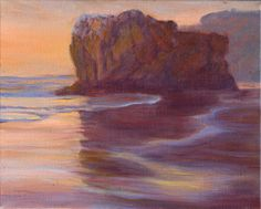 oil on linen 9 x 11 inches framed Remember the experience of staying late at the beach to see a memorable sunset. Small, beautiful and dominated by rocky outcrops, Malibu's El Matador looks not unlike a European beach. Capture the memory for your home. Pacific Coast Highway, Highway 1, California, Contemporary Landscape, Landscape Paintings, Reflection, Original Artwork, How To Memorize Things, State