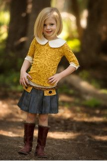 Persnickety Clothing - Laylah Top - Gold - Golden Girls Skirt and Shirt Outfit Little Girl Bob Haircut, Little Girl Hairstyles, Trendy Hairstyles, Toddler Hairstyles, Funny Hairstyles, Ponytail Hairstyles, Hairstyle Ideas, Hairstyles 2016, Natural Hairstyles
