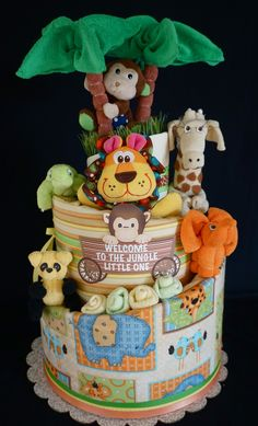 Gender Neutral Jungle Themed Diaper Cake www.facebook.com/DiaperCakesbyDiana