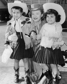 Dale Evans with her children, Dody, left, and Debby, right. (02/25/1957)