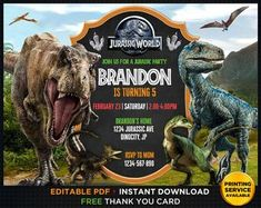Jurassic world invitations Party Invitations Kids, Boy Birthday Invitations, Personalized Invitations, Digital Invitations, Birthday Party At Park, Dinosaur Birthday Party, 5th Birthday, Birthday Ideas, Birthday Parties