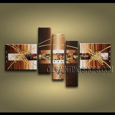 Large Modern Abstract Painting High Quality Oil Painting For Living Room Abstract. This 5 panels canvas wall art is hand painted by A.Qiang, instock - $192. To see more, visit OilPaintingShops.com
