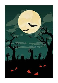 Cemetery on Halloween Night Ready to Print Poster  Digital
