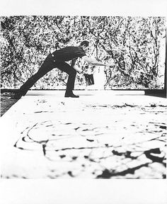 Photograph of Jackson Pollock in his studio