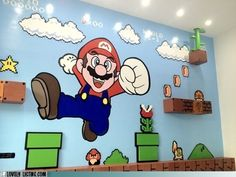 Cool and Amazing Mario Bros Wall Murals Stickers in Small Kids Bedroom Decoration Best Wall Stickers Decoration, Create a Harmonious Phrase Super Mario Brothers, Super Mario Bros, Deco Gamer, Kids Bedroom, Bedroom Decor, Bedroom Wall, Wall Decor, Mario Room, Boy Room