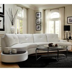 Modern Style Curved Sectional Sofa With Built In Wooden Top Ottoman (White,  Sectional Sofa)
