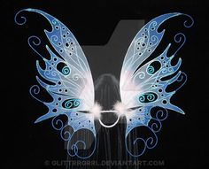 Delia's custom 3 panel fairy wings in a blue and purple pattern with black veins *PLEASE NOTE, THIS IMAGE IS NOT STOCK! Do not use without express written permission.