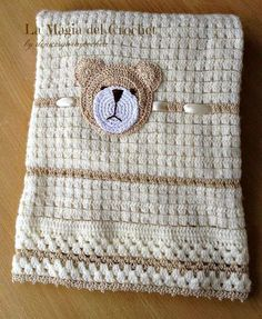 Diy Crafts - This set will be a perfect gift for any newborn or baby. It has it all - delicate pattern soft fabric and eye-catching Teddy Bear croche Baby Afghan Crochet, Crochet Bebe, Crochet For Boys, Newborn Crochet, Baby Afghans, Love Crochet, Crochet Blanket Patterns, Baby Patterns, Crochet Stitches