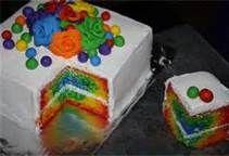 I love this simple, yet elegant rainbow cake.