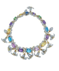 A multi-gem, gold and platinum 'Jasmin' necklace, by Jean Schlumberger, Tiffany