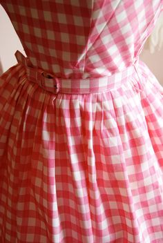50s Dress / 1950s Dress / Vintage 1950s Pink and White Checked Gingham Summer Dress Size S. $225.00, via Etsy.