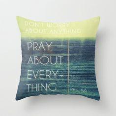 Phillipians 4:6 Throw Pillow by Pocket Fuel - $20.00