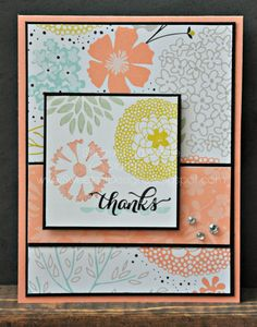 Sweetest Designs: thanks Sweet Deets (all supplies Stampin' Up!): Stamps: Petal Parade (2014 Sale-A-Bration exclusive) DSP:  Sweet Sorbet (2014 Sale-A-Bration exclusive) Ink: Crisp Cantaloupe, Pistachio Pudding, Pool Party, Summer Starfruit, Staz-On CS: Basic Black, Crisp Cantaloupe, Whisper White Accessories: Basic rhinestones, dimensionals